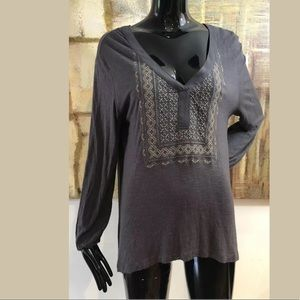 Sanctuary Gray Gold Threaded Top Size Large